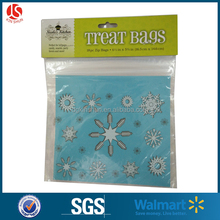new design LDPE zip lock cello treat bag with head card for christmas party