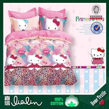 Alibaba china designer fabric 100 percent cotton fabric hello kitty bed cover set