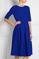 2015 Wholesale Guangzhou Fashion Women's v back Short Sleeve Round neck Slim Flared Hem Dress