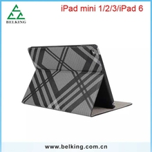 Tablet Grid Design Standing Case For iPad 6/ For iPad Air 2 PU Leather Case