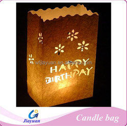 White Happy Birthday Party Paper Candle Bag Lanterns Flame Proof Material
