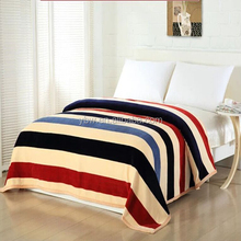 colorful stripe design printed knitted flannel throw(king) size for hotel bed spreads