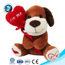 New design plush red heart toy dog promotional plush animal toy for valentine's day