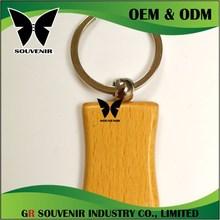 customized cheap any shape like round rectangle blank wooden keychain