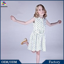 Hepburn Style Girls Whirt Dress With Green Polka Dots Short Square Neck Girls Dresses In Summer