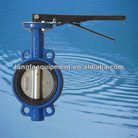 DN100 cast iron handle lever operated wafer concentric butterfly valve