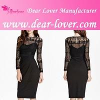 Elegant Women One Piece Black Lace Splice Pleated Midi Dress