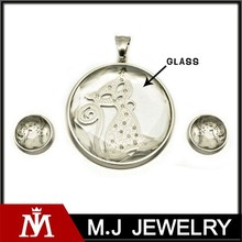 High quality and 2015 hot pendant cute cat in glass antique jewelry set