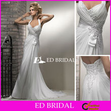 Halter Top Beach Wedding Dresses Beaded Appliqued Chiffon Backless Casual Bride Dress