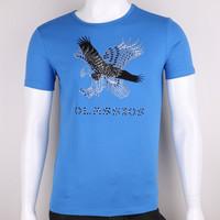 2015 new model printing t shirt mens short sleeve 95 cotton /5 elastane t-shirt