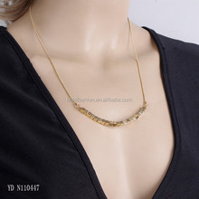 Fashion Brand Jewelry Simple Gold Chain Square Copper Beads Necklace
