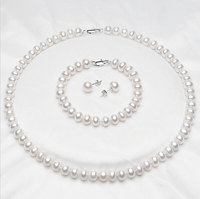 Natural White 7-8mm Freshwater Pearl Necklace Sets Jewelry PJS063