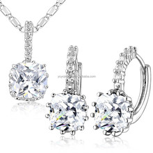 Eye-catching white gold zircon earring and necklace set jewelry