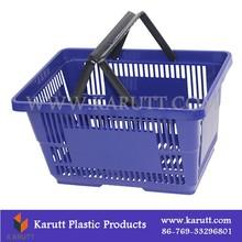 Custom small plastic folding shopping basket with handles
