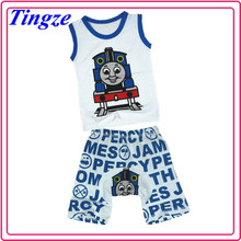 2015 Hot selling wholesale fashion summer thomas and friends printed children two-piece set kid clothes TR-T76