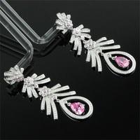 EHR0029 New Fashion Hot Symmetrical Wings Crystal Drop Dangle Stud Earrings 925 Sterling Silver