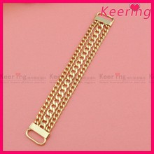 newest fashion gold metal chain shoe buckle shoe accessories WCK-1042
