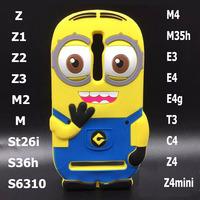 3D Despicable me Back Cover Bumper protective minion case for sony xperia z1 z2 z3 z4 mini e4g m2 m4