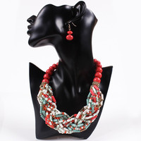 2015 traditional african beads jewelry set red coral bead necklace set