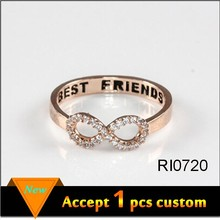 Alibaba Website 18mm diameter rose gold plated best friends ring wholesale