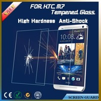 Whole Transparency mobile phone accessory tempered glass screen protectors for HTC One M7 with low price