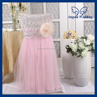 CH019B New 2015 wedding high back tutu light pink tulle chair cover with flower