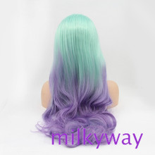 Milkyway Qingdao high quality factory cheap price light blue to light purple two tone body wava synthetic front lace wig