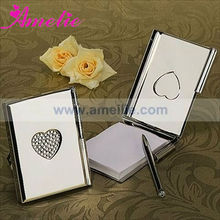 """A07920 \""""Love Note\"""" Silver Toned Luxury Memo Pad and Pen"""