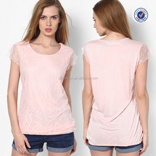 Alibaba China manufacturer round neck sleeveless pink embroidered cheap t shirt women