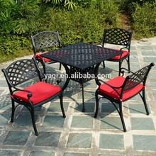 Hierro forjado mesa y silla