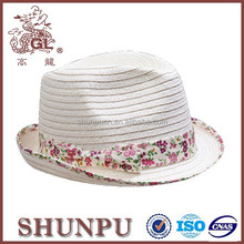 flower pattern fedora hat ribbons with feather