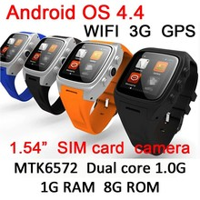 best selling products 5mega pixels camera MTK6572 dual core 1G RAM 8G ROM waterproof wrist android WCDMA wifi GPS 3G smart watch