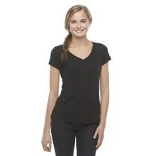 Wholesale blank black v neck t shirt women