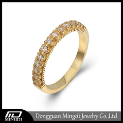 Fashion Micro Pave Setting CZ Diamond Engagement Gold Plated Rings Jewelry Latest Gold Finger Ring Designs