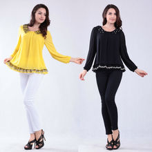 Fashion Ruffle Long Sleeve Tops Elegant Ladies Loose Puls Size Blouse