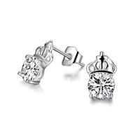 Fast Sale Women Studs Earring Women Jewelry Fancy Princess Crown Crystal Jewelry Accessories Stud Earring 925 Silver Jewelry