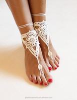2015 fashion boho Beach wedding barefoot sandals Handmade Crochet Dancing leg chain ankle bracelet indian foot jewelry/