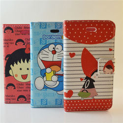 cute cartoon Chibi Maruko Chan case cover PU leather flip wallet case for iphone 4 4S