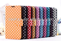 Hot New Products for 2014 Polka Dots Dormancy Leather Case for Samsung Note II/N7100