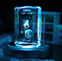 Xyer Hot sale 12 Zodiac Gifts Taurus Laser Engraved 3d Crystal