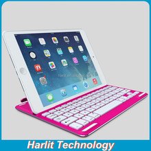 For iPad Air 2 Red Color Aluminum Bluetooth Keyboard Case 7 Color Back Light
