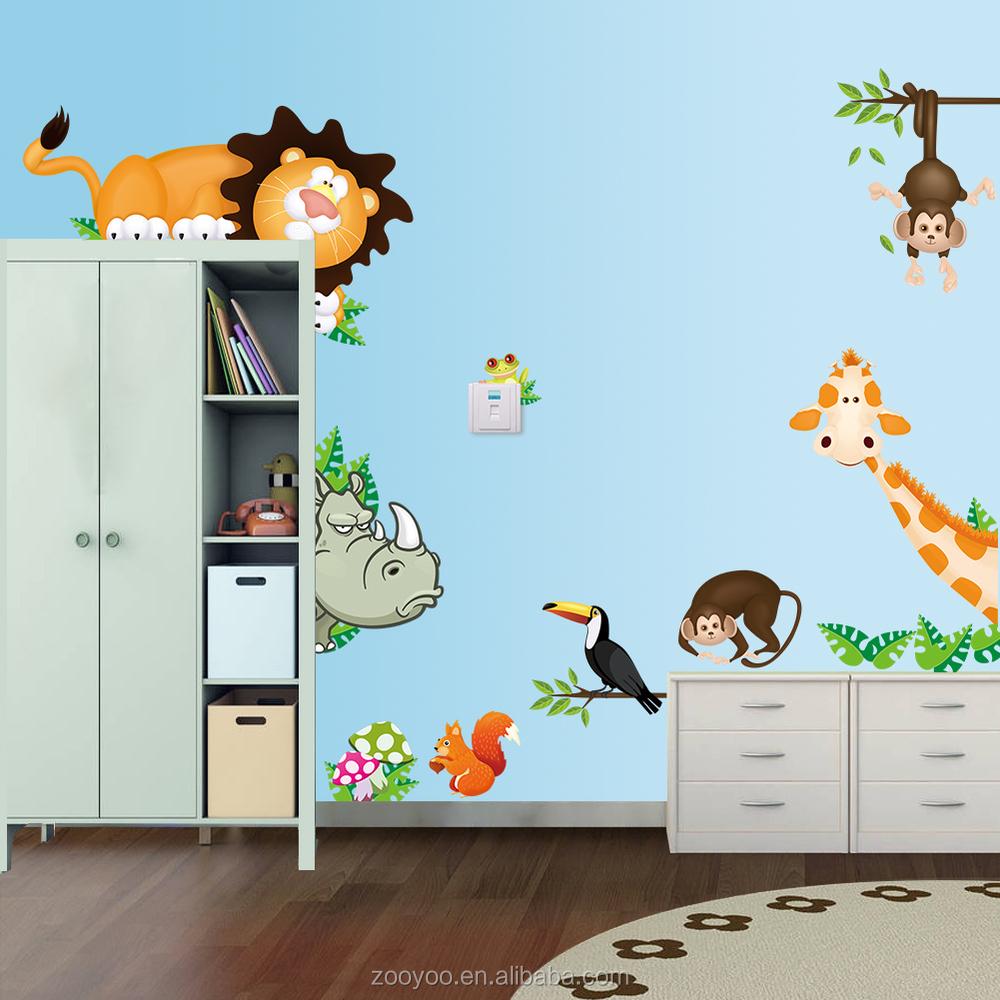 Zooyoo cartoon tiere wandtattoo für baby kind raumdekoration ...