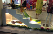 Stair type MDF display rack for scarf or other accessory shop