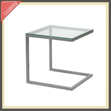 office furniture small glass top metal cube small rattan side table design