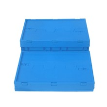 hot sale 34L stackable Feature Plastic material storage fruit crates with lid for packaging usage