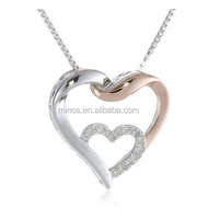 Italian New Arrive Silver and 14k Rose Gold Fashion Heart Pendant Necklace Jewelry for Beautiful Girlfriend