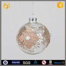 Factory supplier unique shiny white hanging christmas glass ball