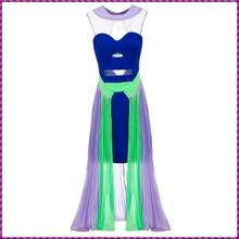 unique muti color long hot sleeveless pattern summer dress of chiffon
