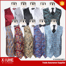 2015 Men fashion multicolor fancy 6 button Single-breasted Polyester Vest