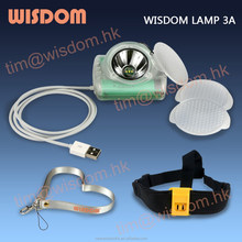 WISDOM LAMP 3 Wired Miners Cordless Cap Lamp / LEDs Head Lamp / Head Light With USB Charger and IP68